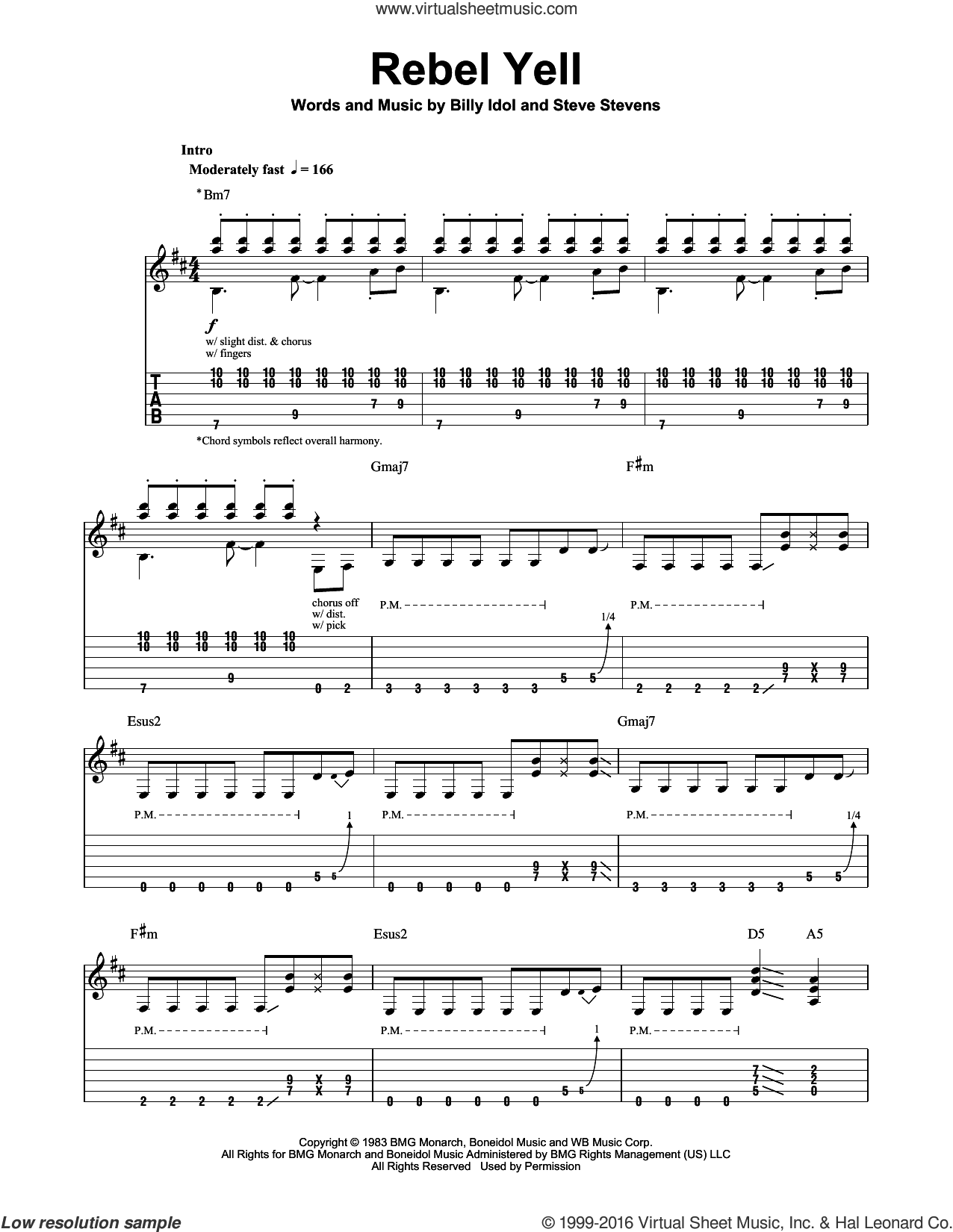 Rebel Yell sheet music for guitar (tablature, play-along) by Steve Stevens and Billy Idol. Score Image Preview.