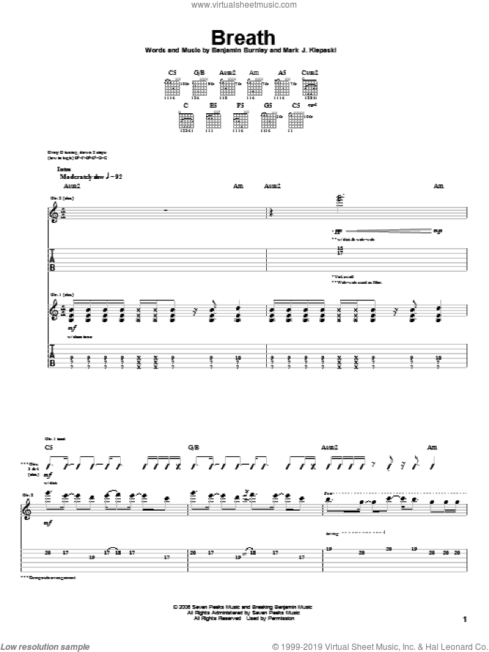 Breath sheet music for guitar (tablature) by Breaking Benjamin, intermediate. Score Image Preview.
