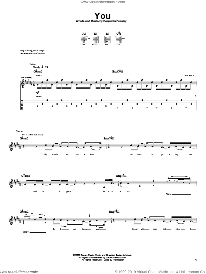 You sheet music for guitar (tablature) by Benjamin Burnley. Score Image Preview.