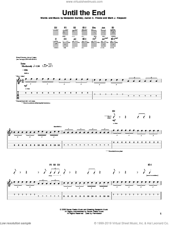 Until The End sheet music for guitar (tablature) by Breaking Benjamin, Aaron C. Fincke, Benjamin Burnley and Mark J. Klepaski, intermediate. Score Image Preview.