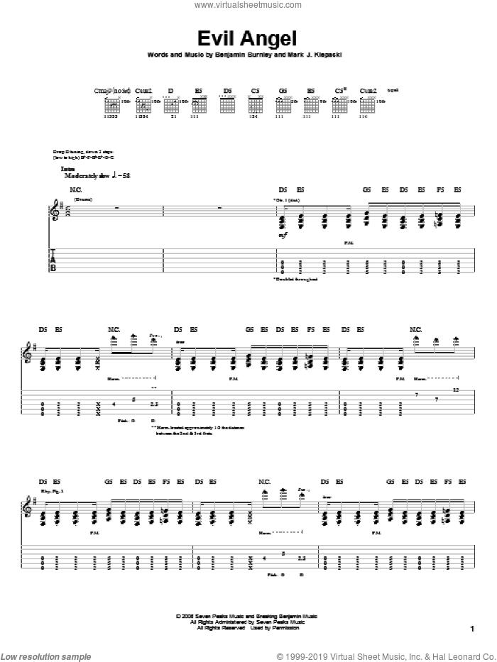 Evil Angel sheet music for guitar (tablature) by Breaking Benjamin, Benjamin Burnley and Mark J. Klepaski, intermediate skill level