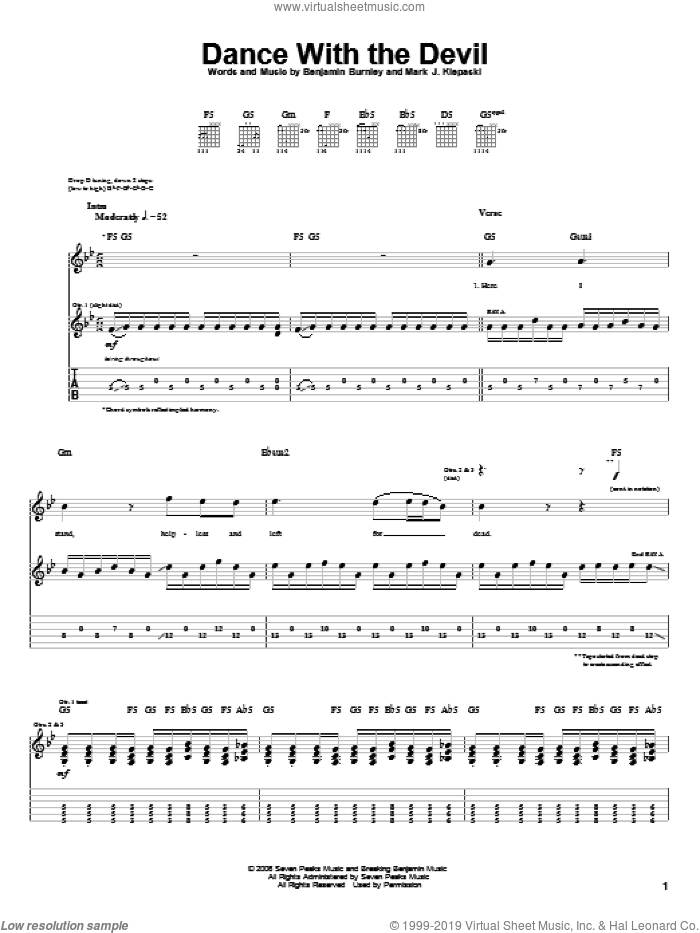 Dance With The Devil sheet music for guitar (tablature) by Mark J. Klepaski