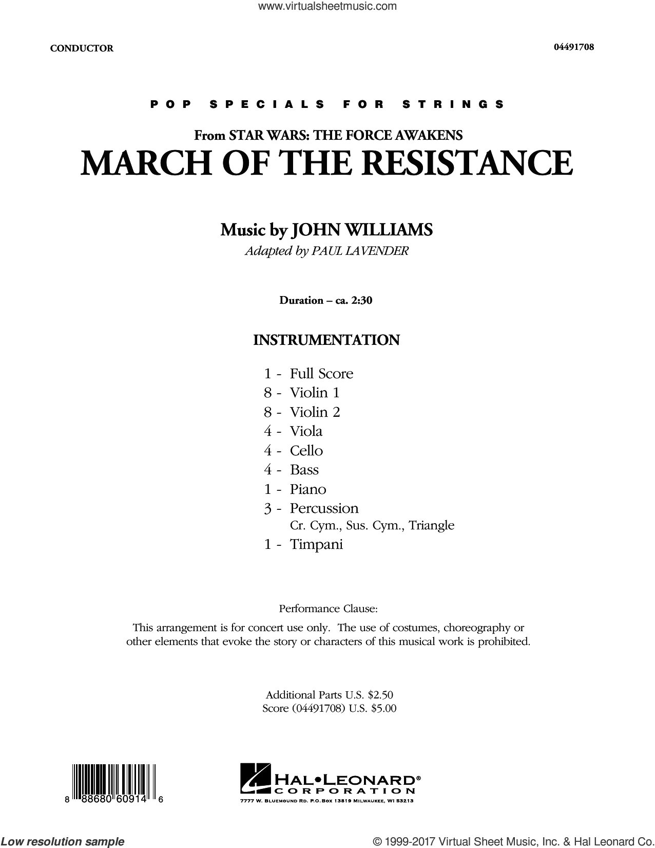 March of the Resistance (from Star Wars: The Force Awakens) (COMPLETE) sheet music for orchestra by John Williams and Paul Lavender, classical score, intermediate. Score Image Preview.