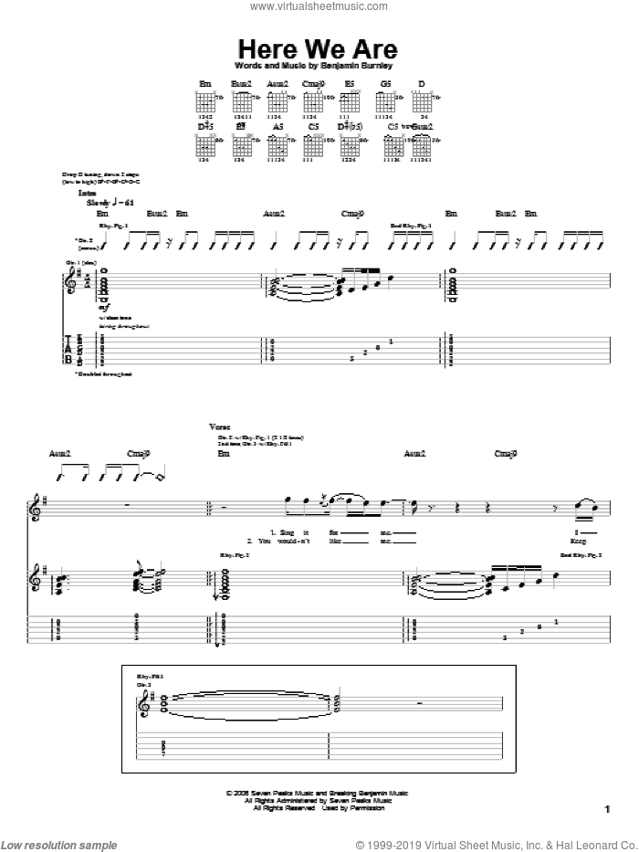 Here We Are sheet music for guitar (tablature) by Breaking Benjamin and Benjamin Burnley, intermediate. Score Image Preview.