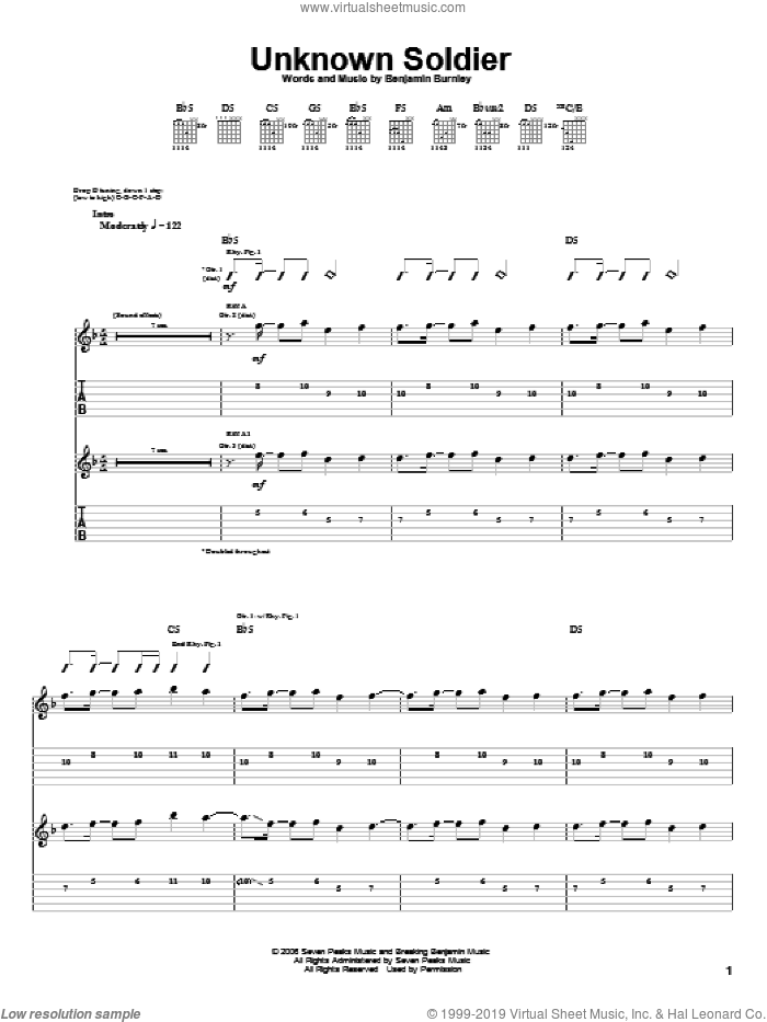 Unknown Soldier sheet music for guitar (tablature) by Breaking Benjamin. Score Image Preview.