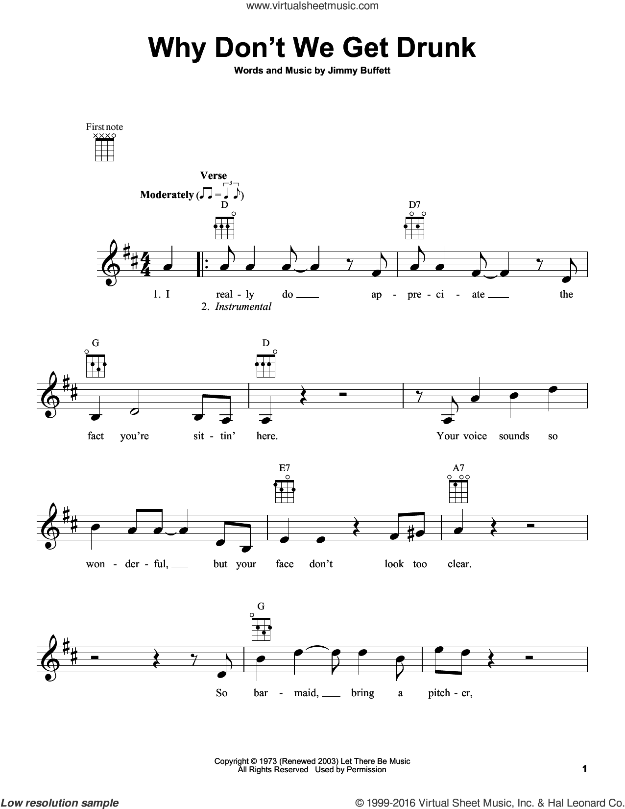 Why Don't We Get Drunk sheet music for ukulele by Jimmy Buffett. Score Image Preview.