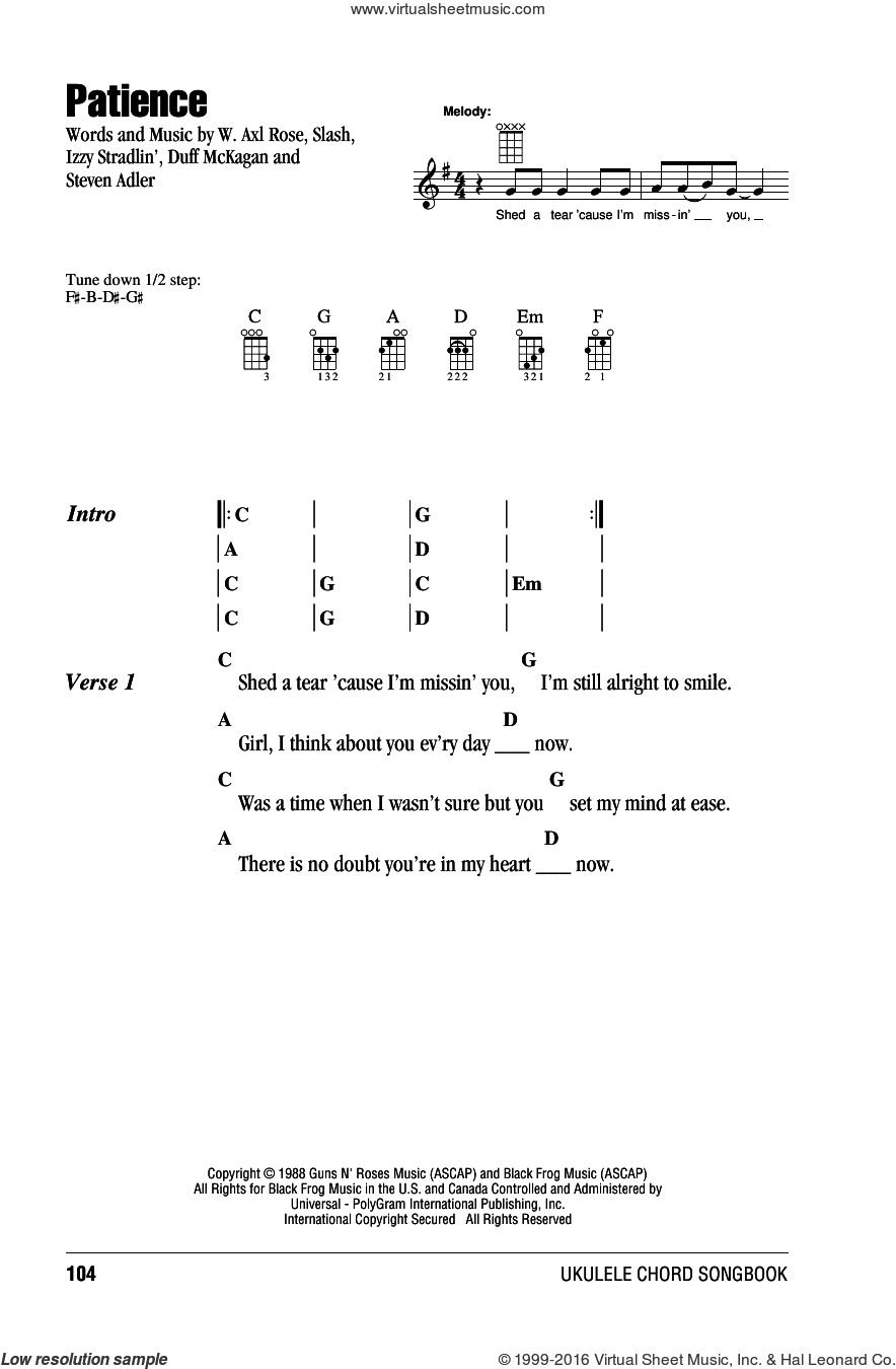 Patience sheet music for ukulele (chords) by Guns N' Roses, Axl Rose, Duff McKagan, Slash and Steven Adler, intermediate ukulele (chords). Score Image Preview.