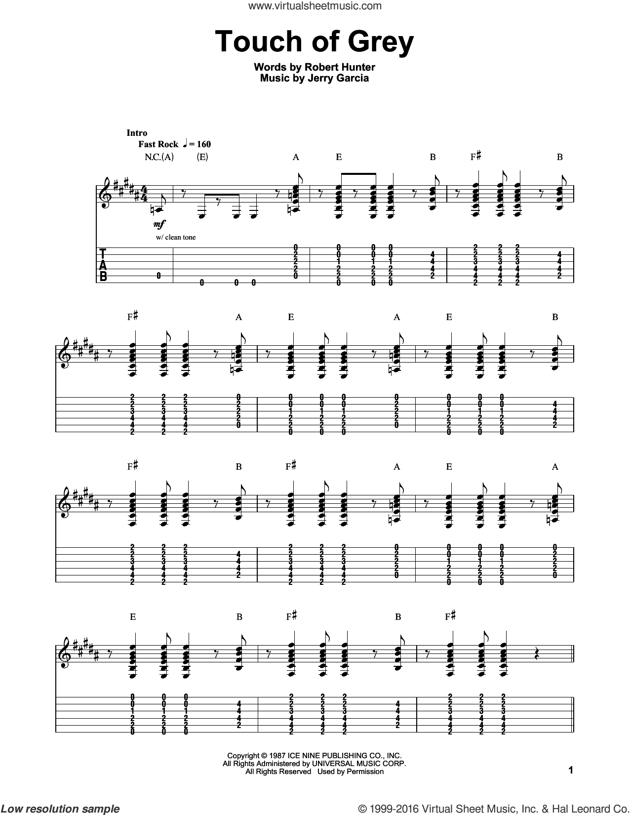 Touch Of Grey sheet music for guitar (tablature, play-along) by Grateful Dead, Jerry Garcia and Robert Hunter, intermediate skill level