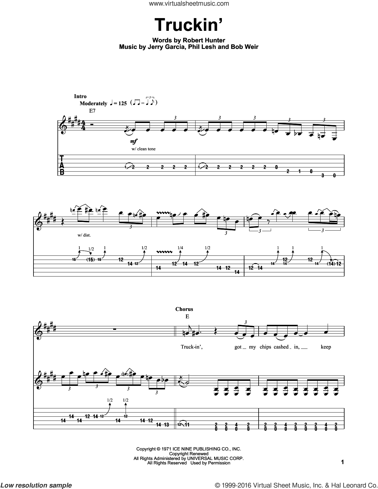 Truckin' sheet music for guitar (tablature, play-along) by Grateful Dead, Bob Weir, Jerry Garcia, Phil Lesh and Robert Hunter, intermediate skill level