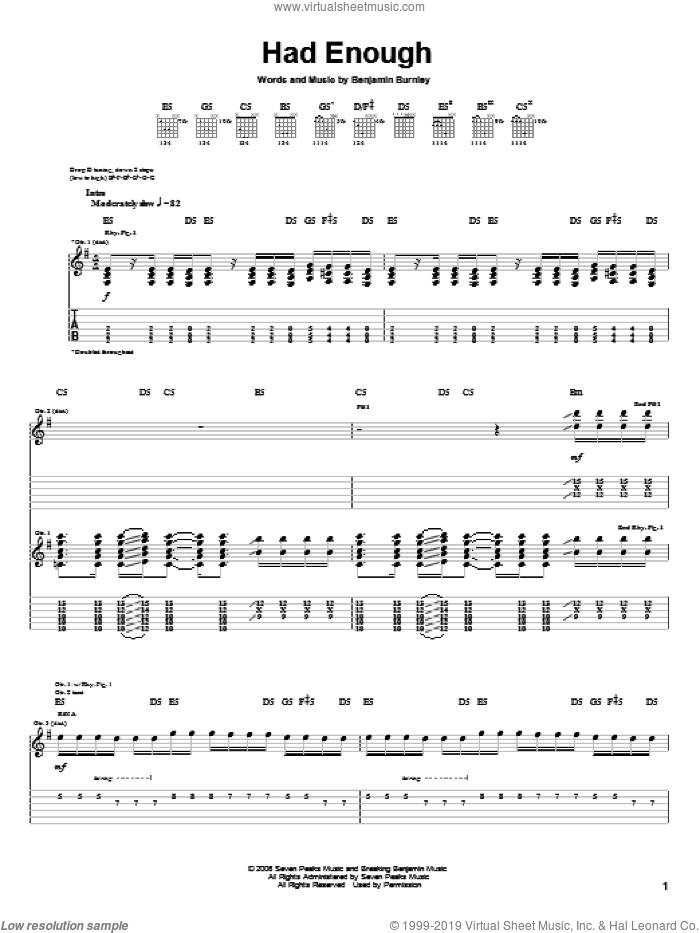 Had Enough sheet music for guitar (tablature) by Breaking Benjamin and Benjamin Burnley, intermediate skill level