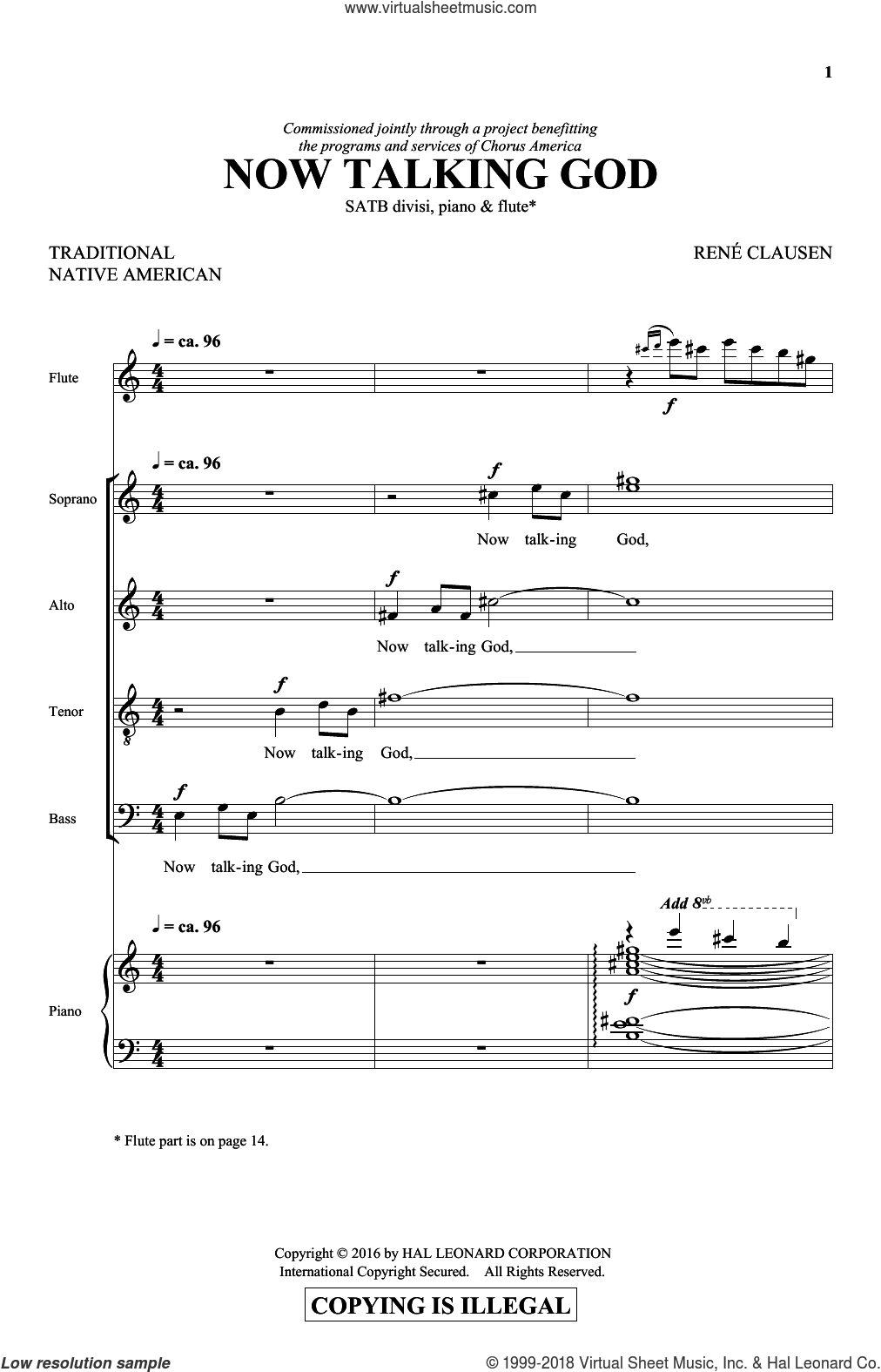 Now Talking God sheet music for choir (SATB) by Rene Clausen, intermediate. Score Image Preview.