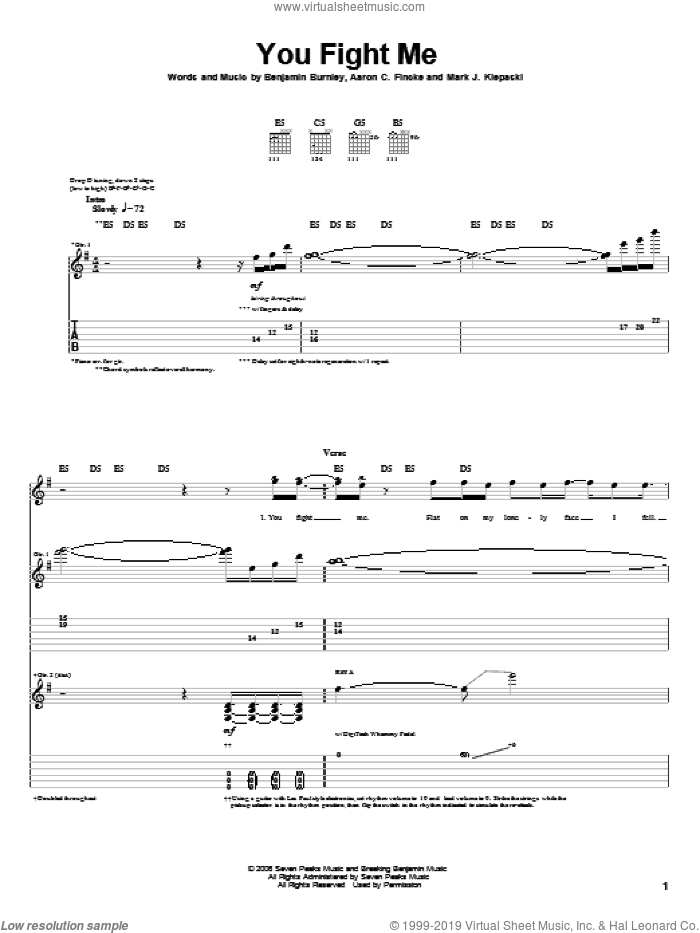You Fight Me sheet music for guitar (tablature) by Mark J. Klepaski