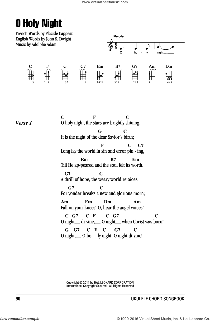 O Holy Night sheet music for ukulele (chords) by Adolphe Adam, John S. Dwight (trans.) and Placide Cappeau  (French), intermediate skill level