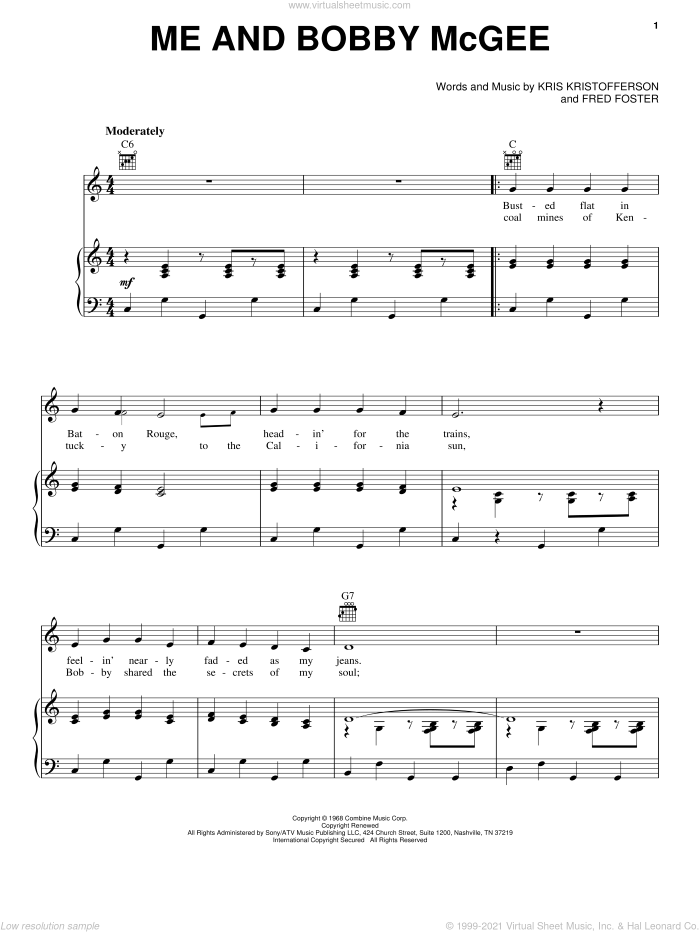 Me And Bobby McGee sheet music for voice, piano or guitar by Janis Joplin, Roger Miller, Fred Foster and Kris Kristofferson, intermediate skill level