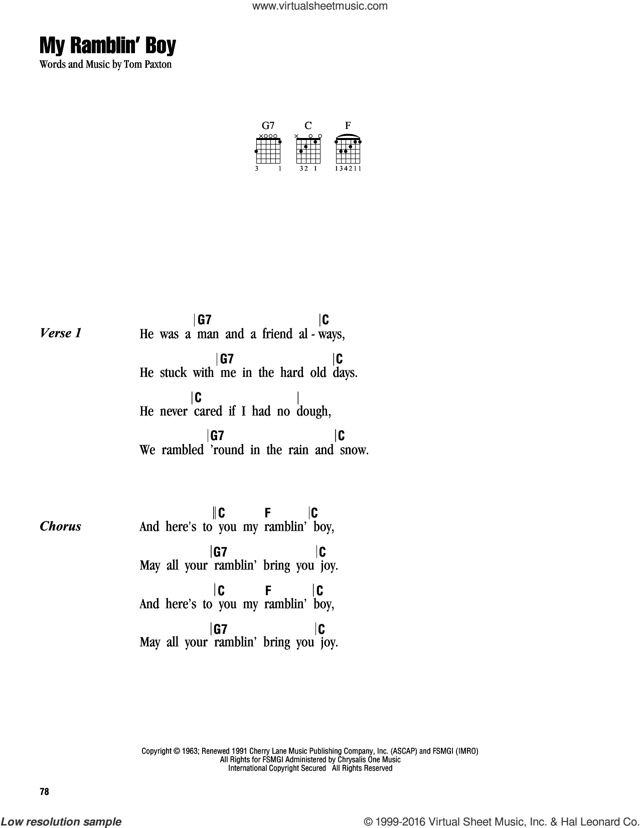 My Ramblin' Boy sheet music for guitar (chords) by Tom Paxton, intermediate guitar (chords). Score Image Preview.