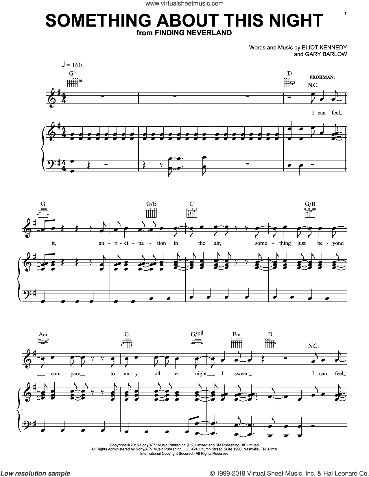 Something About This Night sheet music for voice, piano or guitar by Gary Barlow & Eliot Kennedy, ELIOT KENNEDY and Gary Barlow. Score Image Preview.