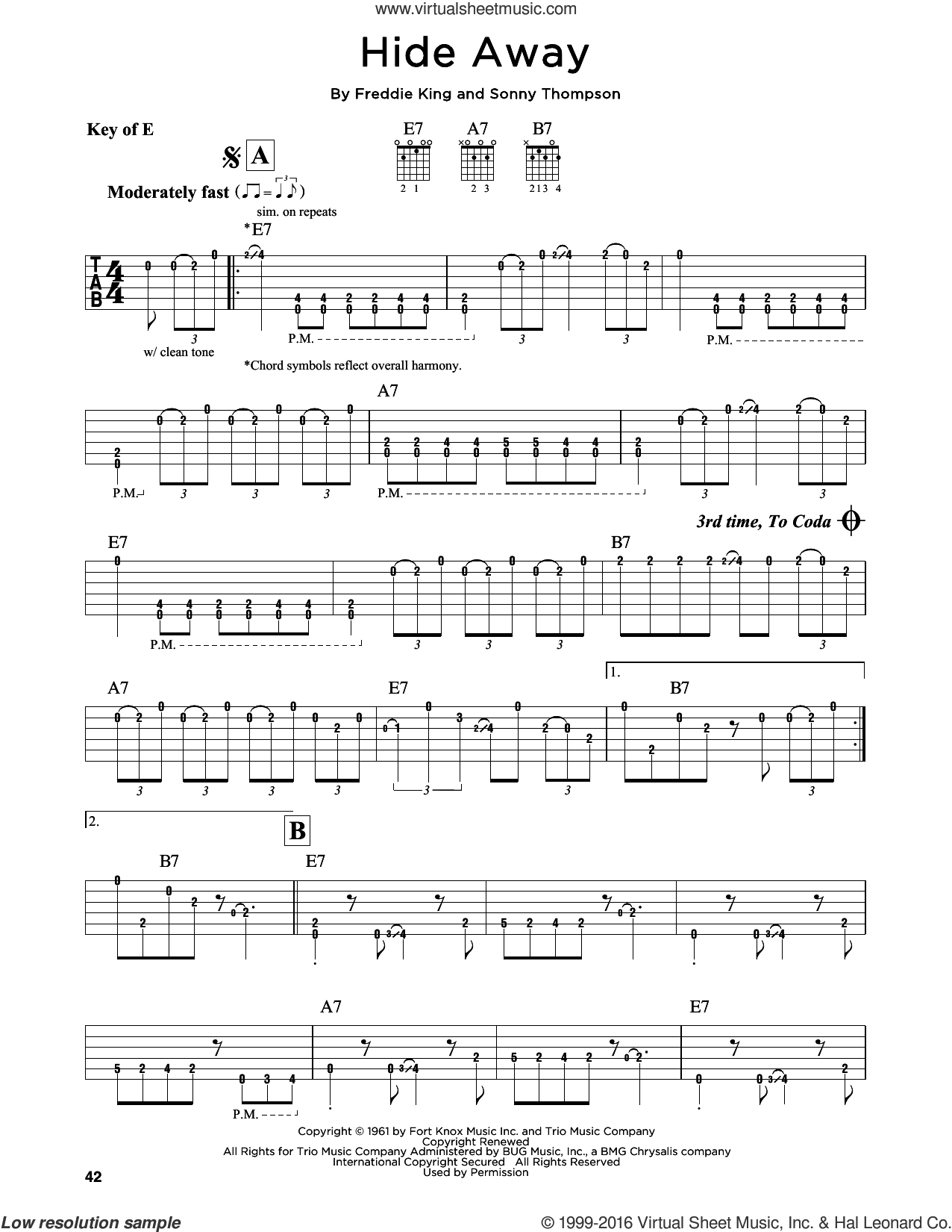 Hide Away sheet music for guitar solo (lead sheet) by Freddie King, Bluesbreakers, Eric Clapton and Sonny Thompson, intermediate guitar (lead sheet)
