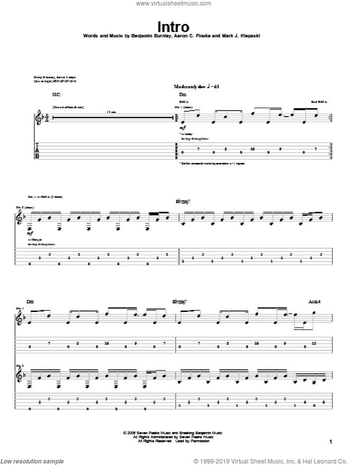 Intro sheet music for guitar (tablature) by Breaking Benjamin, Aaron C. Fincke, Benjamin Burnley and Mark J. Klepaski, intermediate skill level