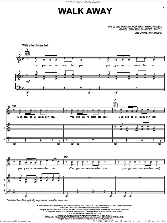 Walk Away sheet music for voice, piano or guitar by Tor Erik Hermansen, Mikkel Eriksen and Shaffer Smith. Score Image Preview.