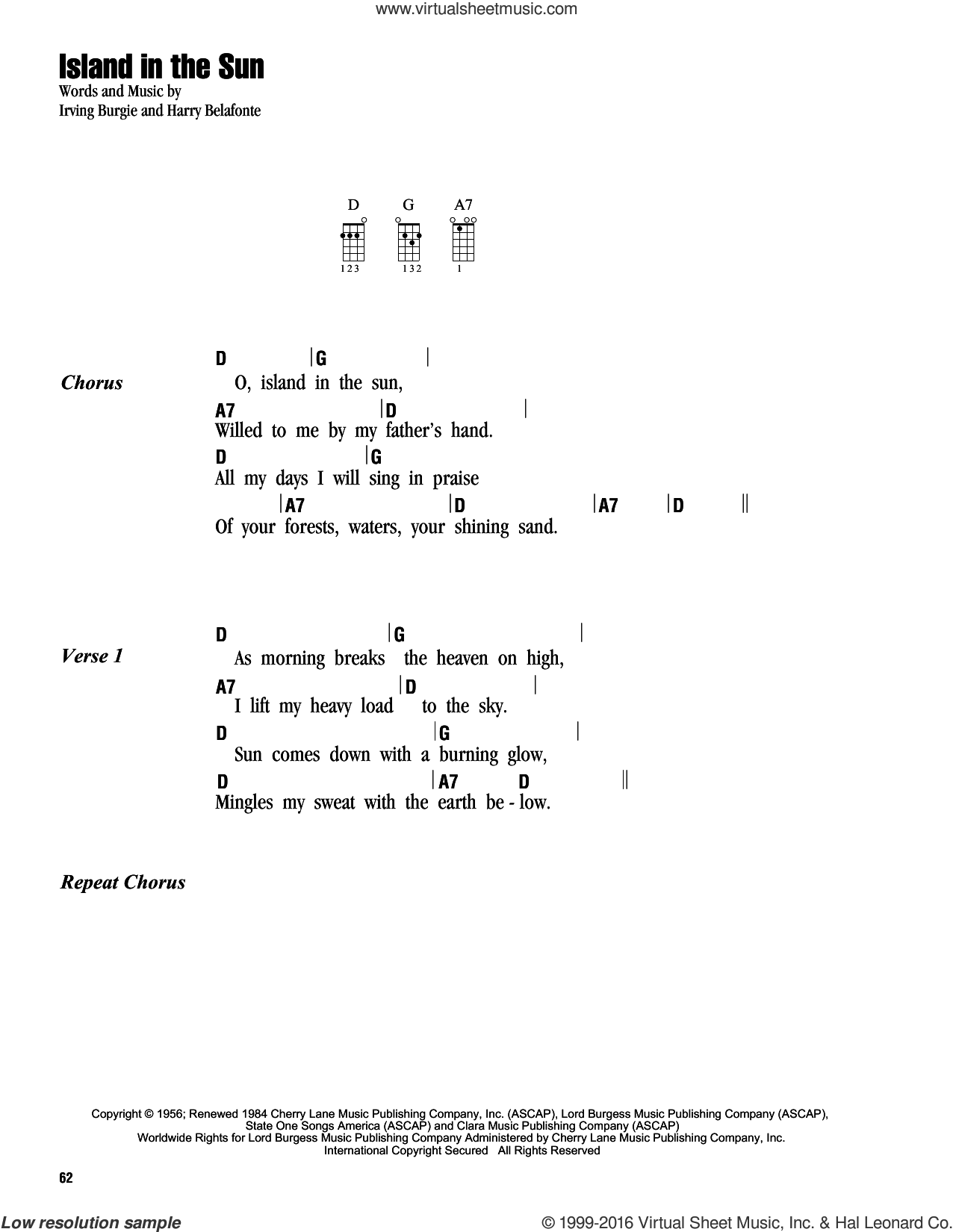 Island In The Sun sheet music for ukulele (chords) by Harry Belafonte and Irving Burgie, intermediate skill level
