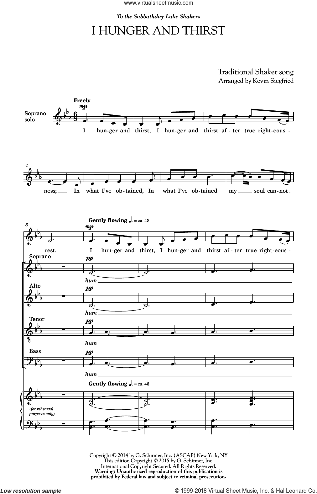 I Hunger And Thirst sheet music for choir (SATB) by Kevin Siegfried, intermediate choir (SATB). Score Image Preview.