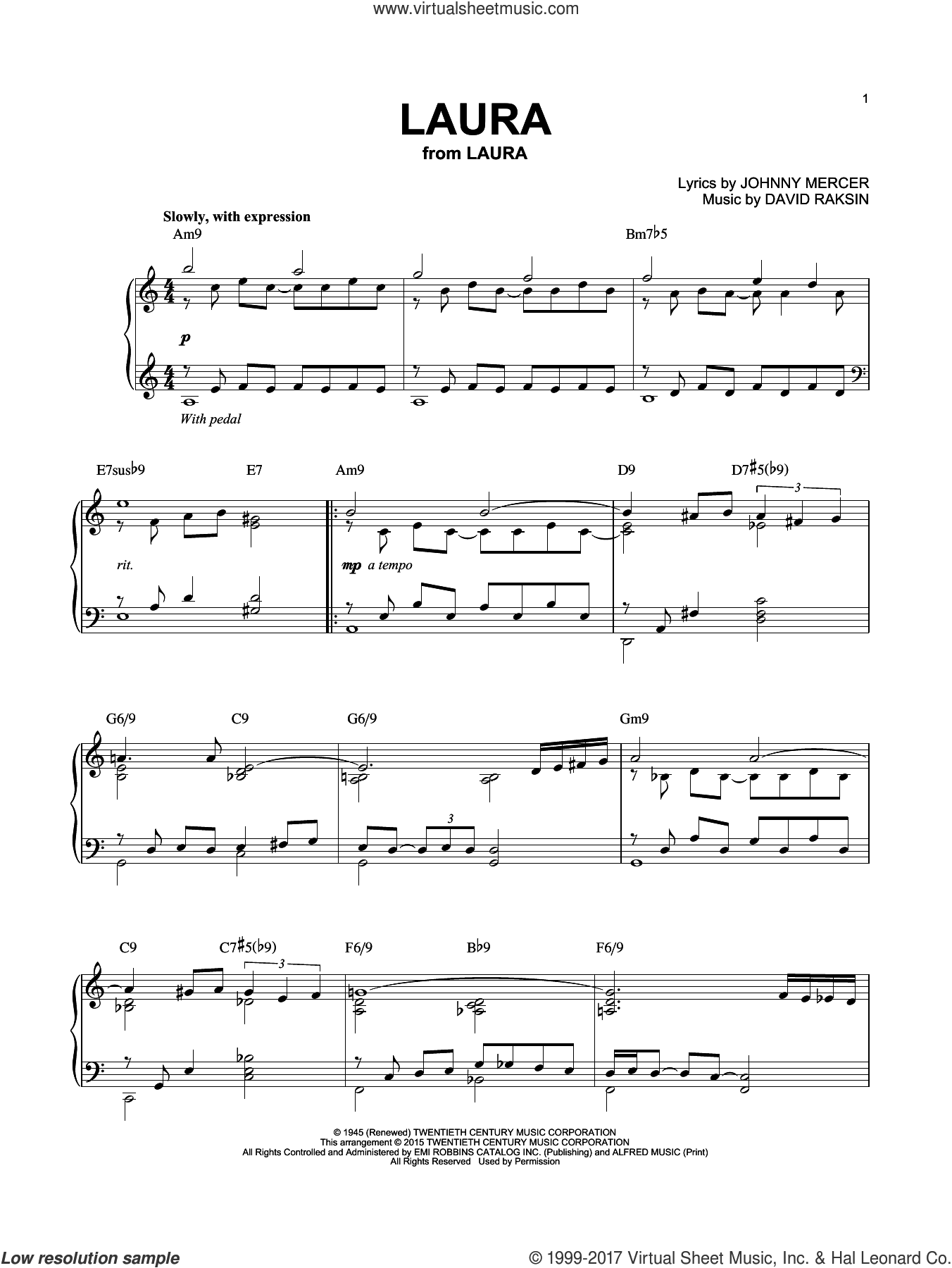 Laura sheet music for piano solo by Johnny Mercer and David Raksin, intermediate skill level