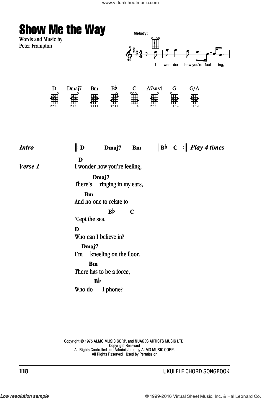 Show Me The Way sheet music for ukulele (chords) by Peter Frampton, intermediate skill level