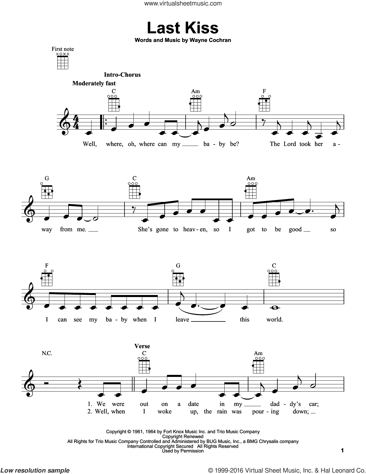 Last Kiss sheet music for ukulele by Wayne Cochran, J. Frank Wilson and Pearl Jam, intermediate. Score Image Preview.