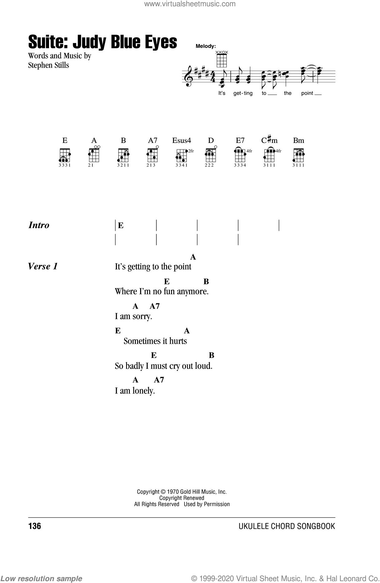Suite: Judy Blue Eyes sheet music for ukulele (chords) by Crosby, Stills & Nash and Stephen Stills, intermediate skill level