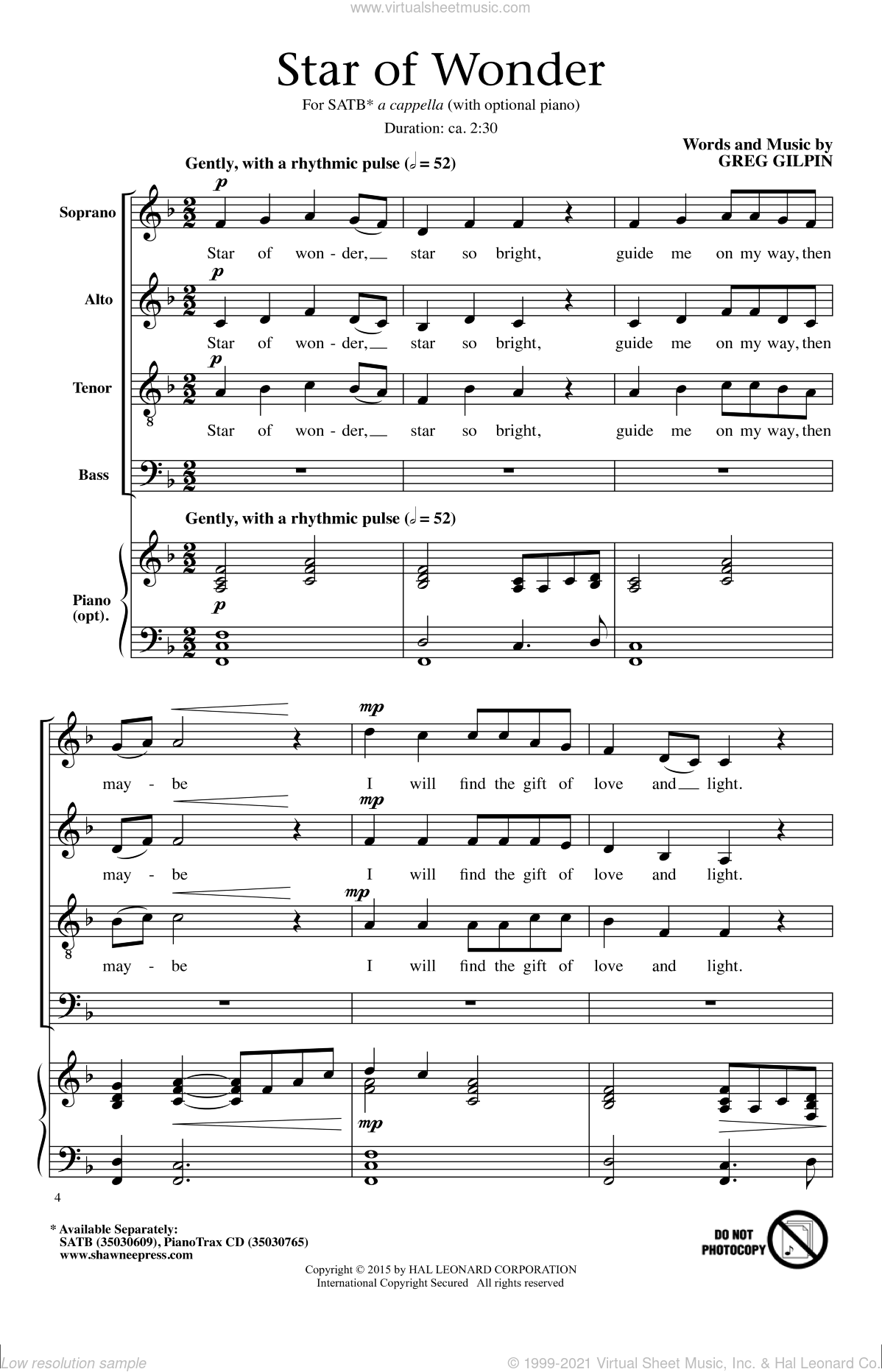 Star Of Wonder sheet music for choir (SATB: soprano, alto, tenor, bass) by Greg Gilpin, intermediate skill level