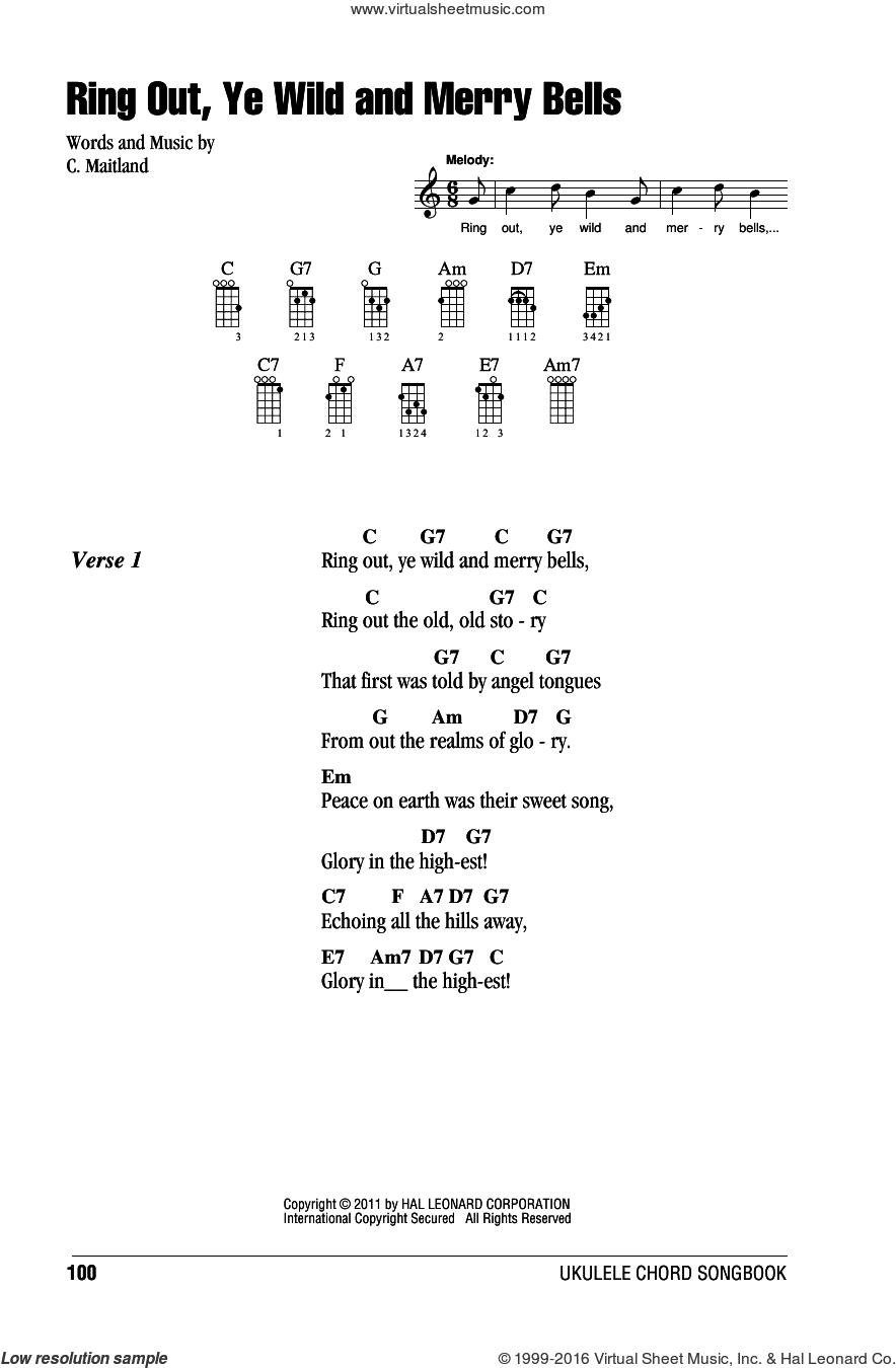 Ring Out, Ye Wild And Merry Bells sheet music for ukulele (chords) by C. Maitland. Score Image Preview.