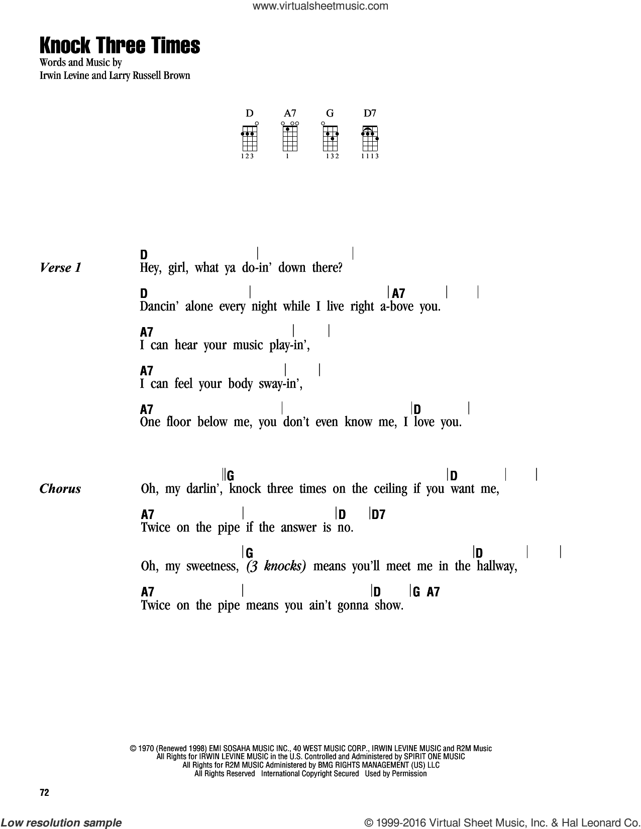 Knock Three Times sheet music for ukulele (chords) by L. Russell Brown and Irwin Levine. Score Image Preview.