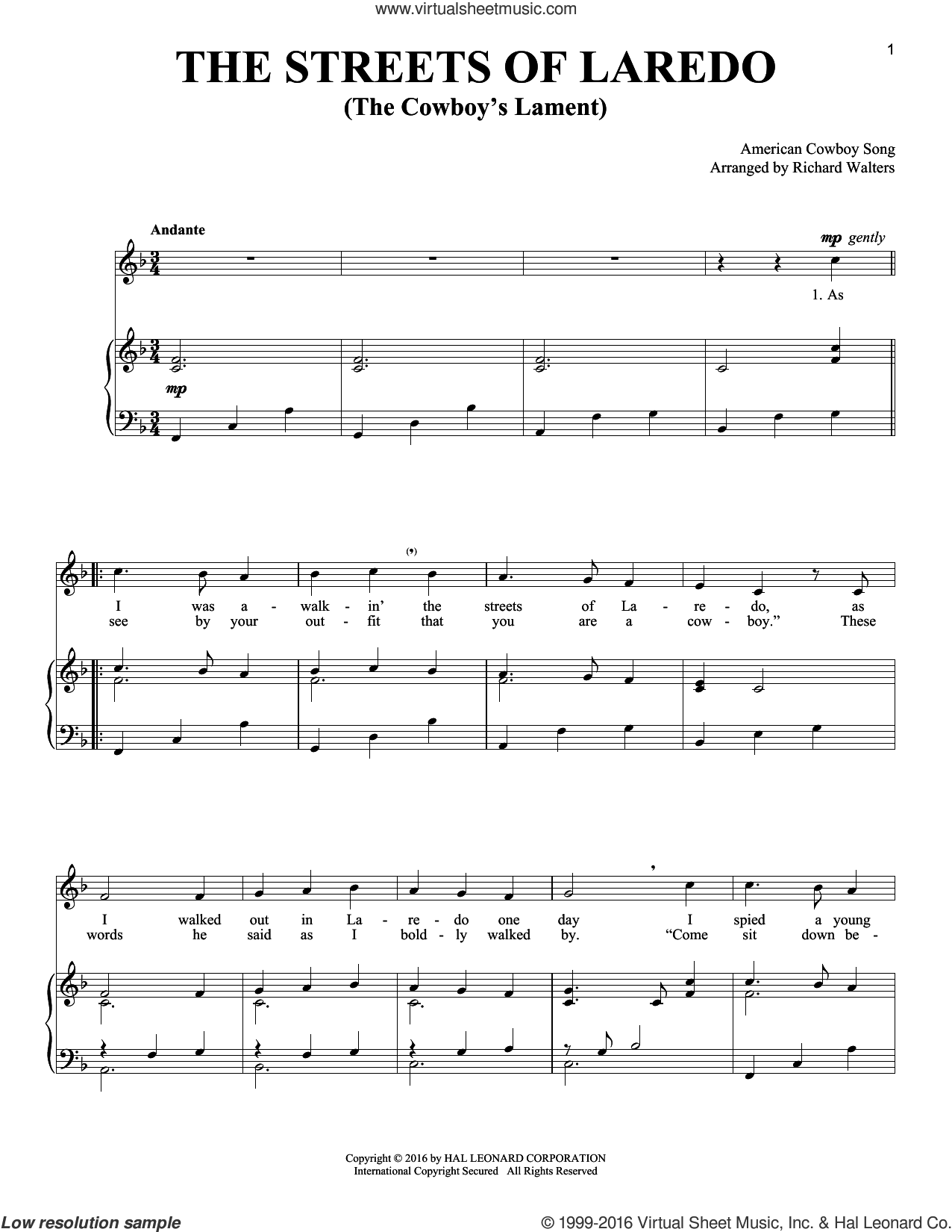 The Streets Of Laredo sheet music for voice and piano, intermediate skill level