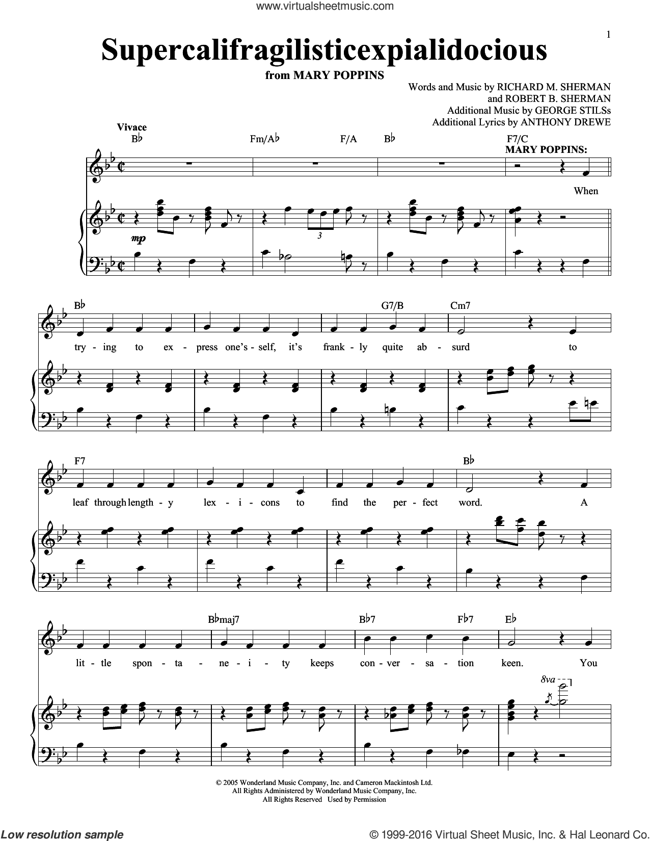 Supercalifragilisticexpialidocious sheet music for voice and piano by Richard & Robert Sherman, Robert Sherman, Anthony Drewe, George Stiles, Richard M. Sherman and Robert B. Sherman, intermediate skill level