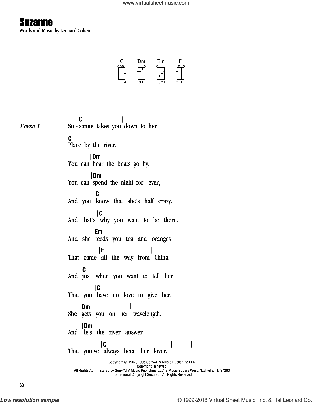 Suzanne sheet music for ukulele (chords) by Leonard Cohen. Score Image Preview.