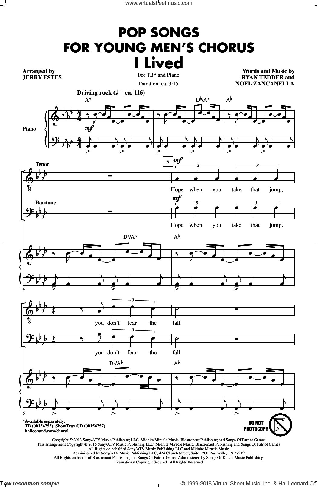 Pop Songs for Young Men's Chorus sheet music for choir (TB) by Will Champion, Jerry Estes, Coldplay, Chris Martin, Guy Berryman and Jon Buckland. Score Image Preview.