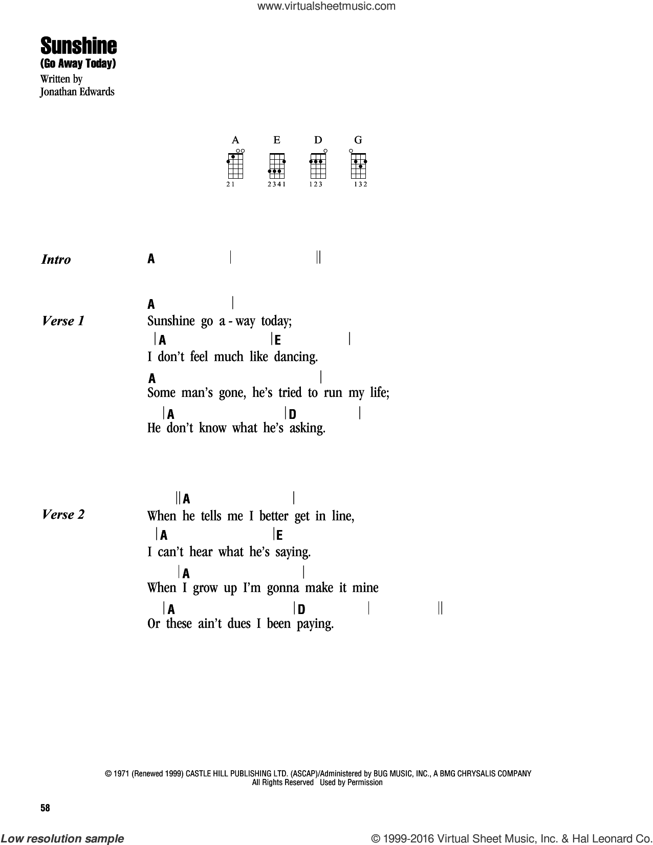 Sunshine (Go Away Today) sheet music for ukulele (chords) by Jonathan Edwards, intermediate skill level