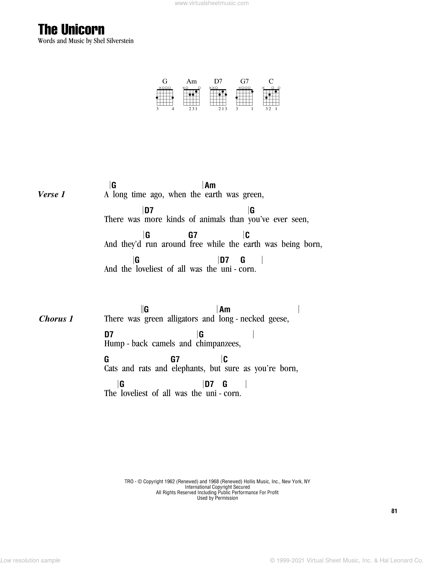 The Unicorn sheet music for guitar (chords) by Irish Rovers and Shel Silverstein. Score Image Preview.