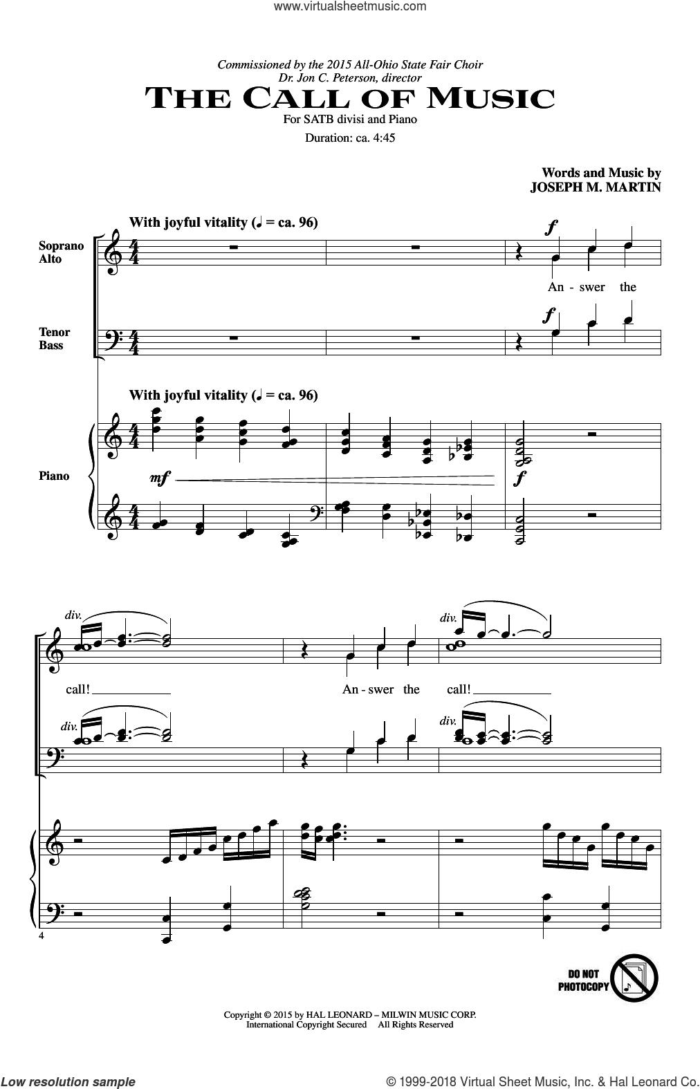 The Call Of Music sheet music for choir (SATB: soprano, alto, tenor, bass) by Joseph M. Martin, intermediate skill level