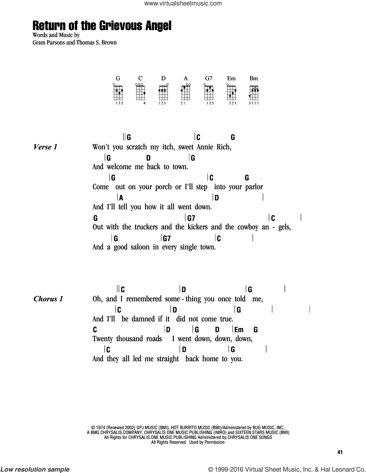 Return Of The Grievous Angel sheet music for ukulele (chords) by Gram Parsons and Thomas S. Brown, intermediate skill level