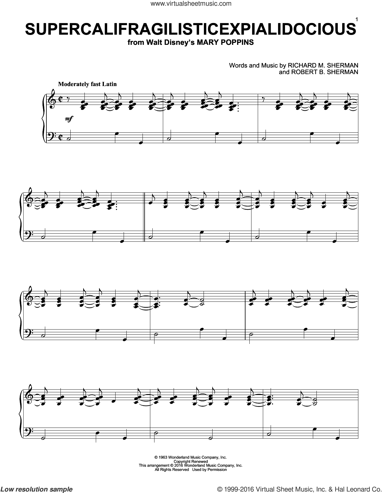 Supercalifragilisticexpialidocious sheet music for piano solo by Richard & Robert Sherman, Richard M. Sherman and Robert B. Sherman, intermediate. Score Image Preview.