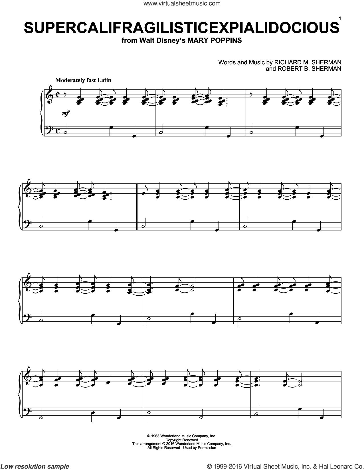 Supercalifragilisticexpialidocious [Jazz version] (from Mary Poppins) sheet music for piano solo by Richard & Robert Sherman, Richard M. Sherman and Robert B. Sherman, intermediate skill level