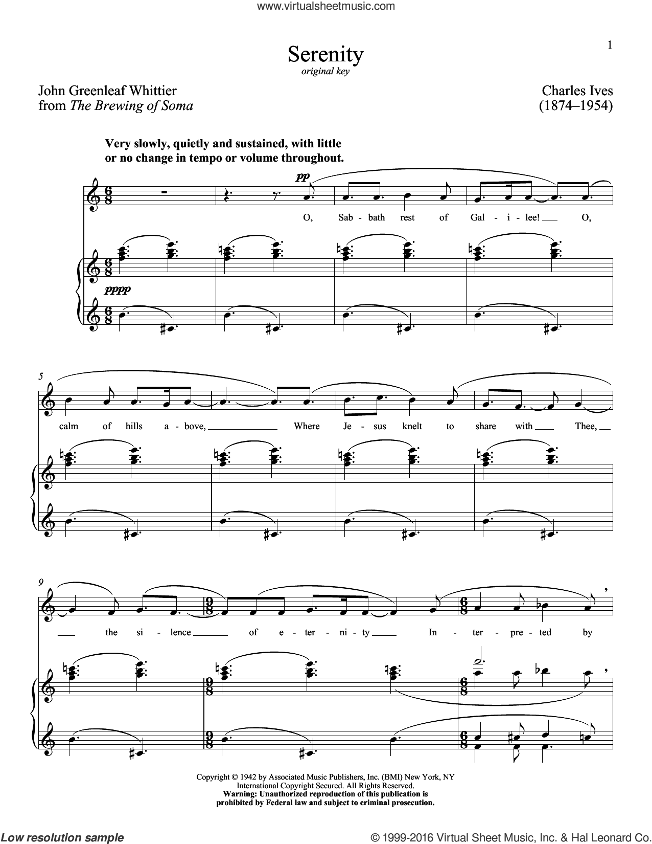 Serenity sheet music for voice and piano (Low ) by John Greenleaf Whittier, Richard Walters and Charles Ives. Score Image Preview.