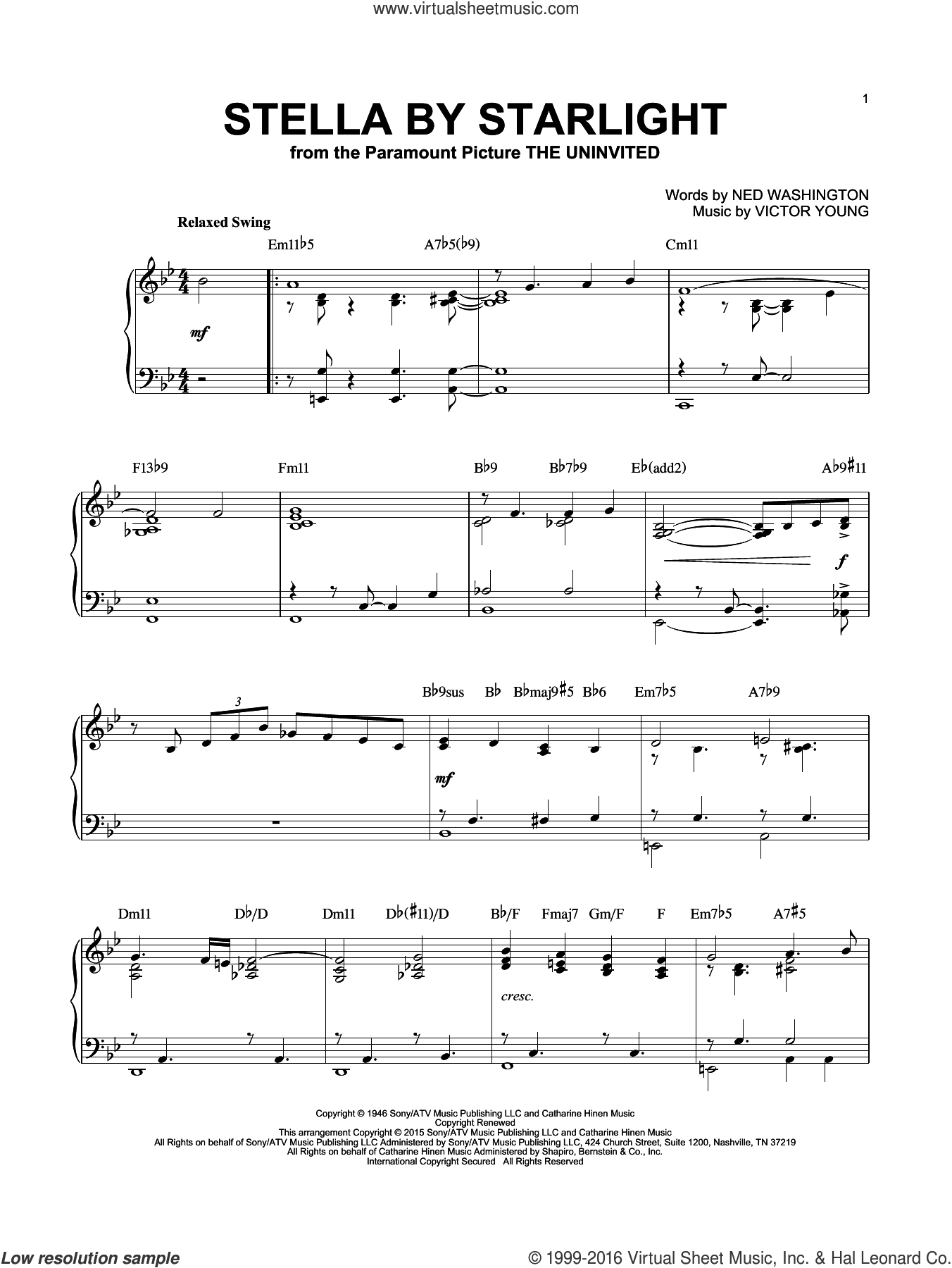 Stella By Starlight sheet music for piano solo by Ray Charles, Ned Washington and Victor Young, intermediate skill level
