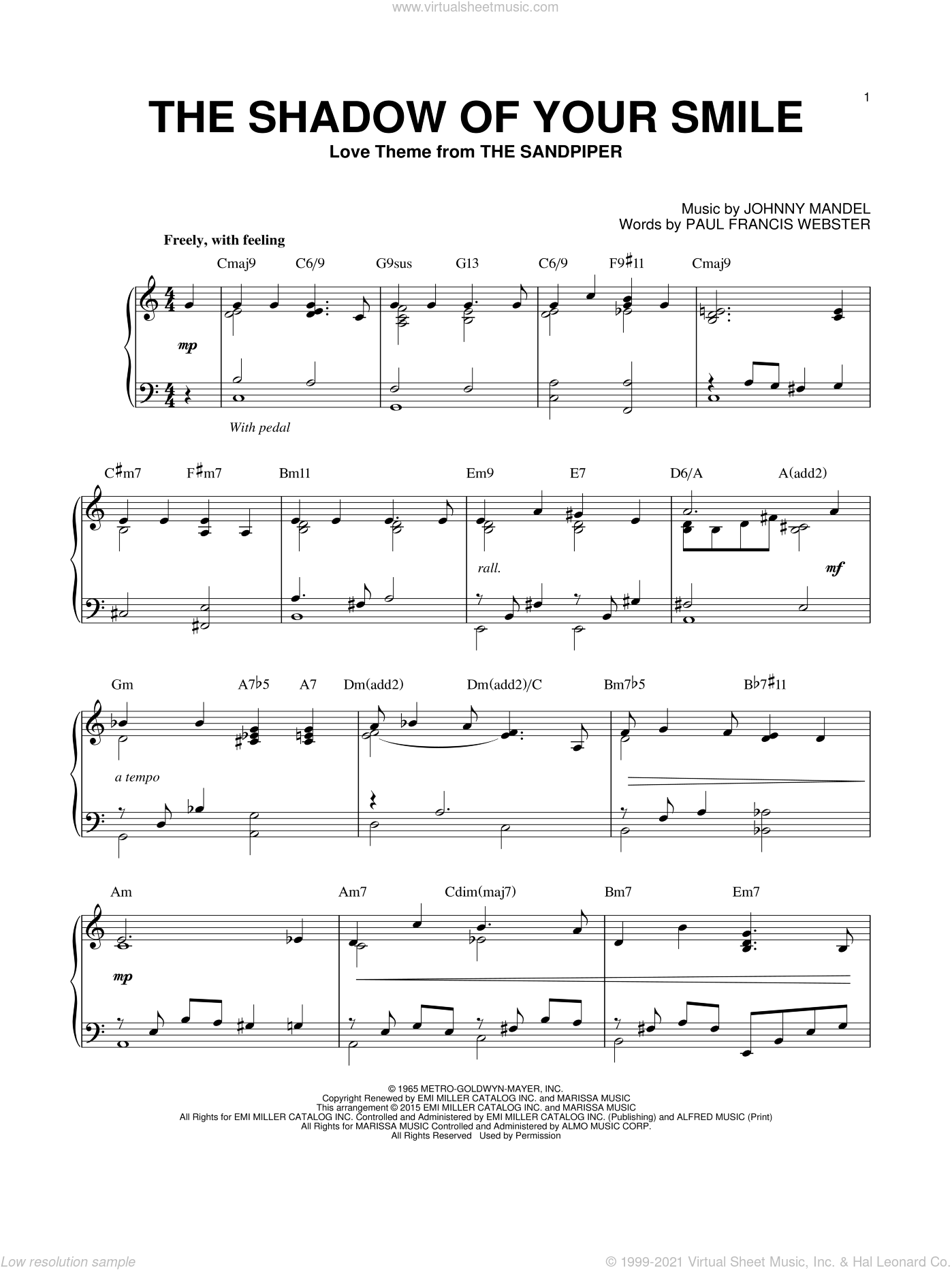The Shadow Of Your Smile, (intermediate) sheet music for piano solo by Johnny Mandel and Paul Francis Webster, intermediate skill level