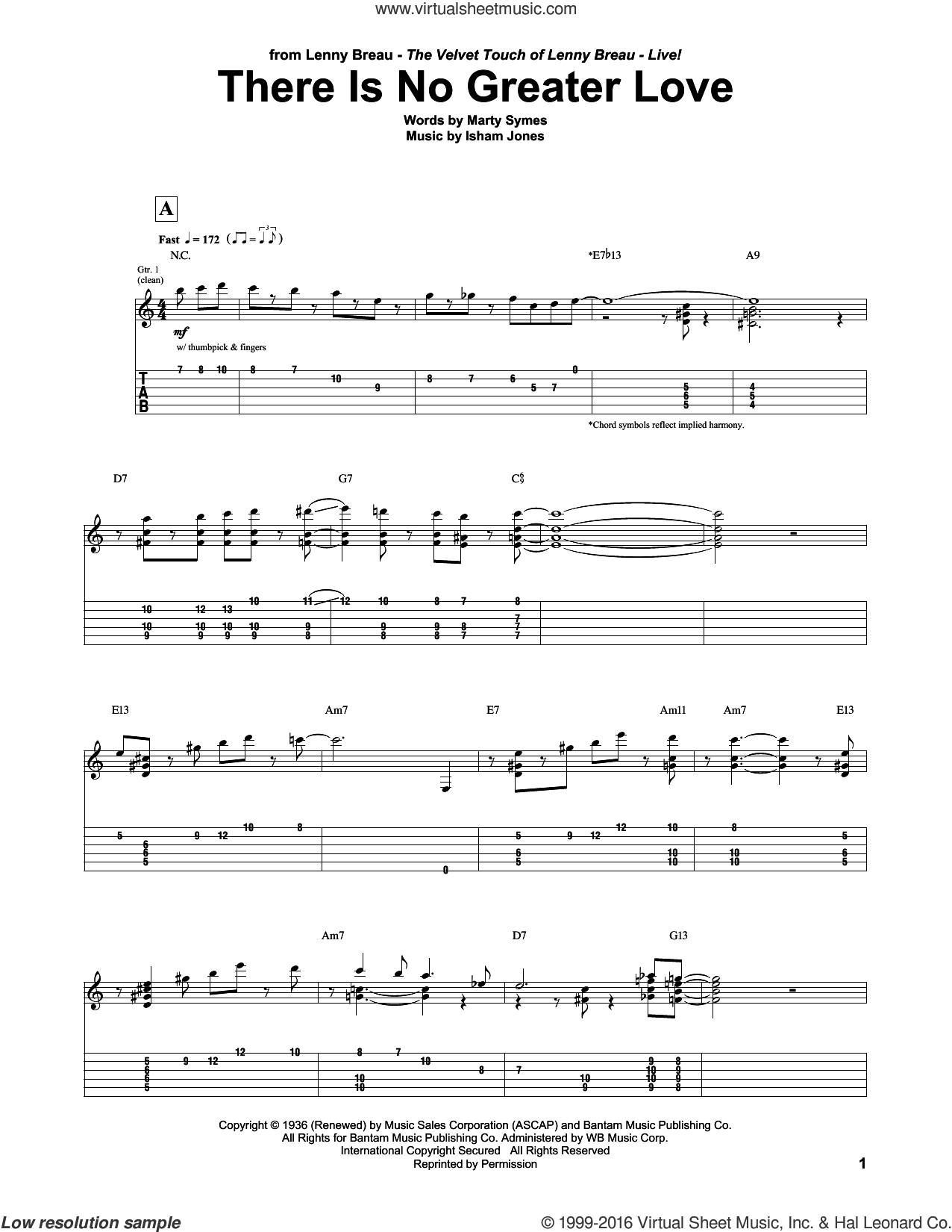 There Is No Greater Love sheet music for guitar (tablature) by Marty Symes, Lenny Breau and Isham Jones. Score Image Preview.