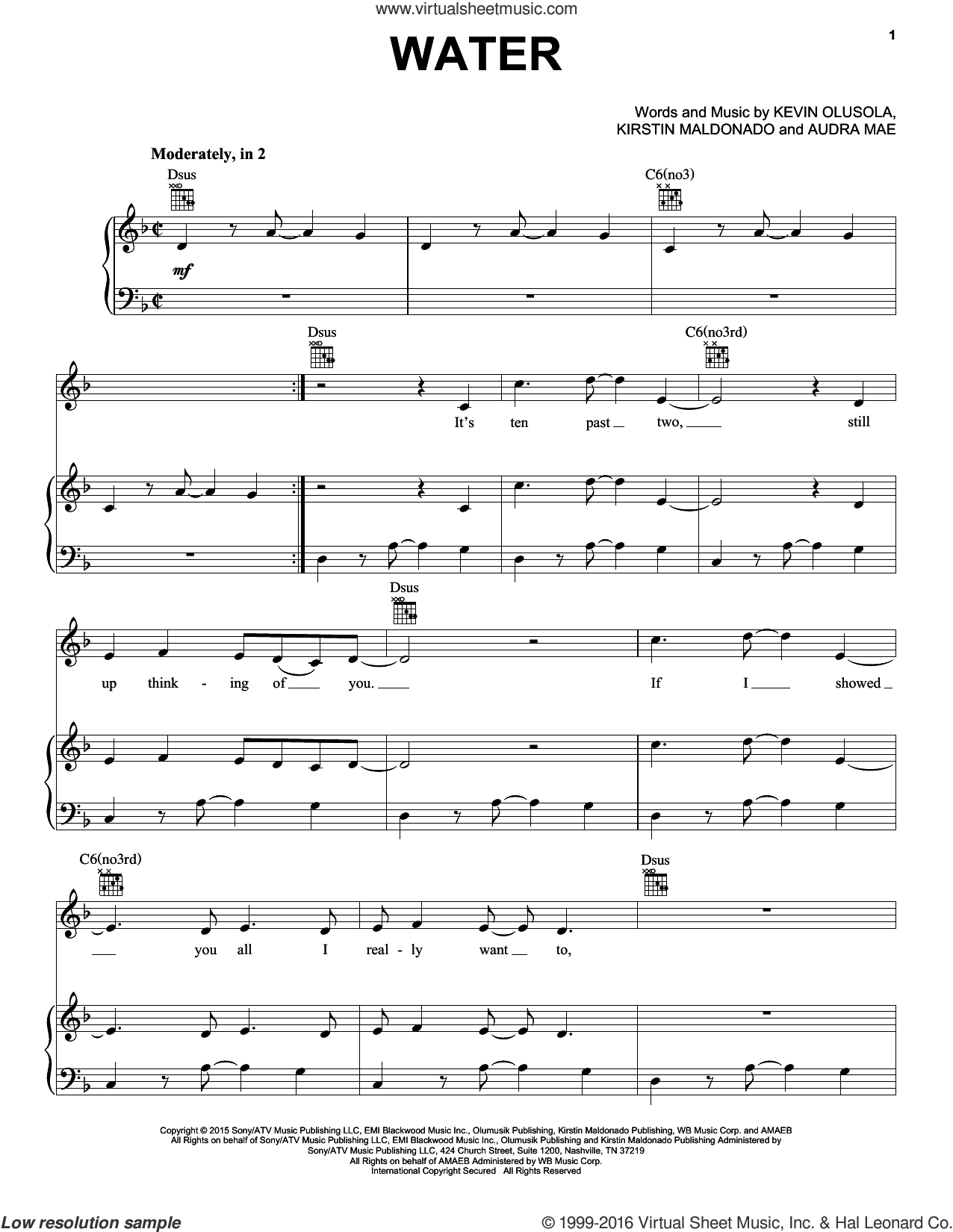 Water sheet music for voice, piano or guitar by Pentatonix and Audra Mae, intermediate. Score Image Preview.
