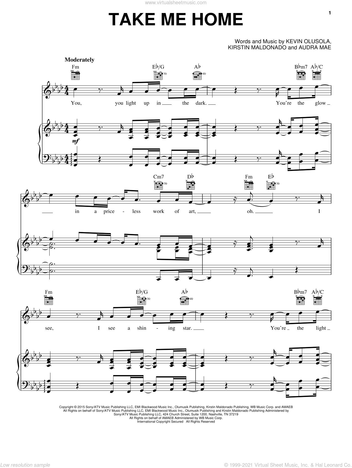 Take Me Home sheet music for voice, piano or guitar by Pentatonix, Audra Mae, Kevin Olusola and Kirstin Maldonado, intermediate skill level
