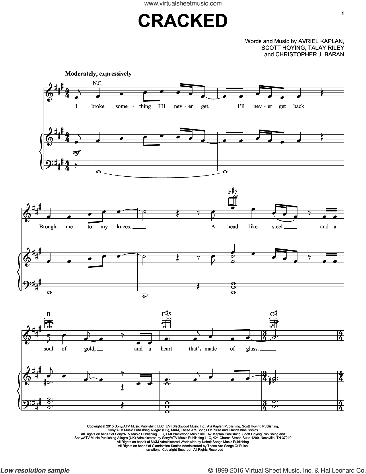 Cracked sheet music for voice, piano or guitar by Pentatonix, Avriel Kaplan, Christopher J. Baran, Scott Hoying and Talay Riley, intermediate