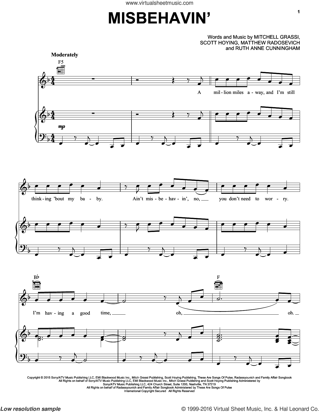 Misbehavin' sheet music for voice, piano or guitar by Pentatonix, Matthew Radosevich, Mitchell Grassi, Ruth Anne Cunningham and Scott Hoying, intermediate skill level